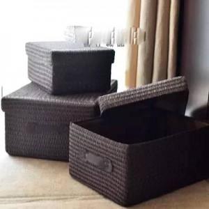 カバー収納ボックス肥厚模造草織り収納バスケットデスクトップ衣類収納ボックス大引き出し