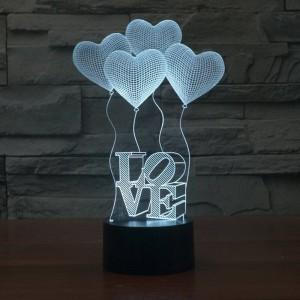 クリエイティブ3 d錯覚ランプカラフルな変色ledナイトライト3dラブハートアクリル結婚式の寝室の装飾雰囲気ランプ
