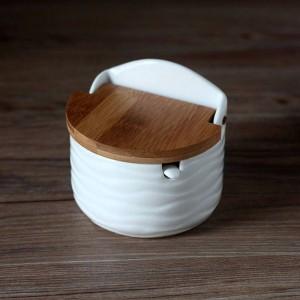 クリエイティブセラミック調味料缶付きスプーン竹カバーラウンド塩キッチンスパイスツールペッパーシェーカー収納ボックス付きトレイ