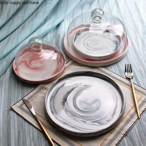 クリエイティブヨーロッパスタイルのセラミックス大理石フルーツトレイふた付きケーキプレートガラスカバーデザートテーブルディスプレイスタンドトレイ