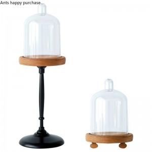 クリエイティブヨーロッパスタイルレトロミニケーキスタンドスナックスタンドカップケーキディスプレイスタンドウッドベース透明ダストカバー装飾