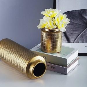 クリエイティブヨーロッパ花瓶メッキメタルカラーセラミック花瓶装飾家の装飾フラワーアレンジメント花瓶