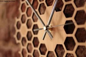 クリエイティブ六角形ログハニカム壁時計農村自然壁掛け時計家の装飾農家の装飾壁時計