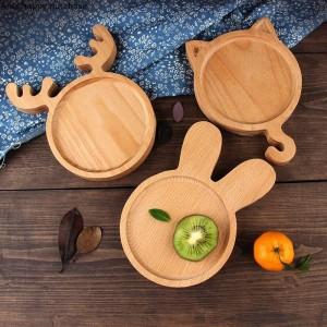 クリエイティブ素敵な和風木製トレイ子供用プレートケーキパンデザートフルーツサラダプレートキッズセラミックホリデープレート