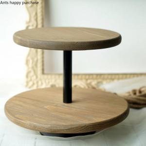 クリエイティブ北欧スタイルデザートテーブルデコレーションウッドケーキスタンドウェディング小道具ウィンドウディスプレイスナックラックダブルケーキパン