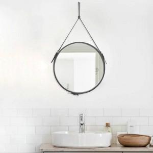 クリエイティブラウンドベルトぶら下げミラー浴室puレザーフレーム化粧鏡ホテルホームデコレーションウォールミラーmx3081024