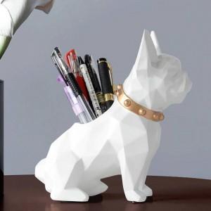 犬の樹脂置物ペンホルダーデスクオーガナイザーオフィスアクセサリー収納デスクペンシルポットホルダー用デスクペンクラフトギフト