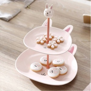 二層セラミックフルーツボウルフルーツシェルフクリエイティブ多層デザートテーブルデコレーション装飾食器デザートケーキ