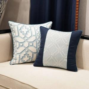 エレガントな北欧のクッションカバー幾何学ブルー高級ジャカード投げ装飾枕車カバーHousse De Coussinホームテキスタイルギフト