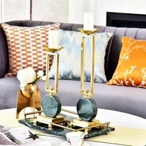 エメラルドモデルルームローソク足テーブル装飾装飾大理石金属ローソク足ヨーロッパ飾り装飾キャンドルホルダー