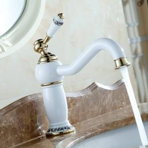 ヨーロッパスタイルの高級牧歌的な洗面器ミキサータップ陶器焼きホワイトペイント銅ゴールドメッキ蛇口浴室の虚栄心7601DK