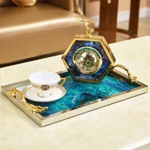 ヨーロッパブルー瑪瑙石パターン長方形トレイ装飾家のリビングルームのコーヒーテーブル収納ベッドの装飾