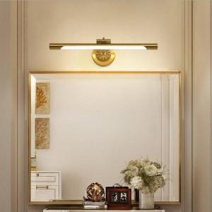 ヨーロッパの銅ミラーランプ用浴室ledキャビネットランプファッション化粧ハングランプホームデコトイレ壁取り付け用燭台照明器具