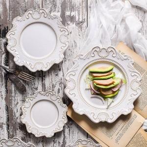 ヨーロッパの裁判所スタイルヴィンテージエンボスセラミック食器ホームテーブルプレートボウルスープボウルデザートプレート