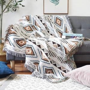 ヨーロッパの幾何学エネルギー投球毛布のソファの装飾的なスリップカバーコバーソファー/飛行機旅行チェック柄滑り止めステッチ毛布