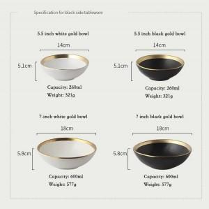 ヨーロッパゴールドサイドセラミックプレート西洋料理ステーキと皿ライスサラダボウルデザートプレート食器食器トレイキッチン