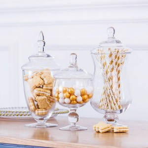 ヨーロッパの高品質キャンディー瓶人工吹きガラス瓶ホテル結婚式デザートテーブルデコレーションスナックビスケット収納タンク
