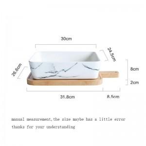ヨーロピアンスタイルのセラミック大理石のテクスチャプレート木製まな板キットホームフルーツサラダパン大ディッシュディッシュ食器