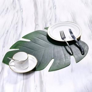 エヴァ亀の後ろの葉の形のテーブルマット家族のお祭りに最適な防水防油プレースマット西洋料理レストランホテル