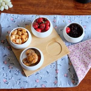 5個セットフルーツ盛り合わせサービングトレイスナック/ナッツ/デザート用クリエイティブセラミック皿プレートエコナチュラルバンブートレイ