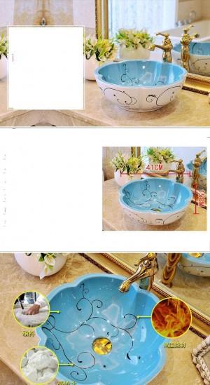 花の形ヨーロッパスタイルアンティーク盆地洗面台浴室手洗面台手描きの容器シンクセラミック装飾洗面台