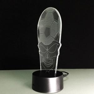 サッカースカルヘッドナイトライトクリエイティブ3d ledアクリルスカルランプシェードusbベッドサイドスリープランプ用スポーツファンギフトデコランプ