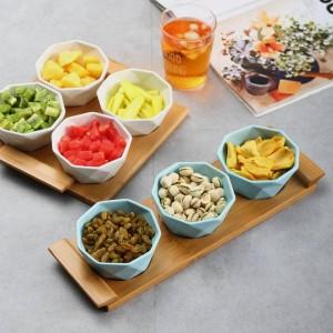 4/5個セットフルーツ盛り合わせサービングトレイスナック/ナッツ/デザート用のクリエイティブセラミック皿プレートエコナチュラルバンブートレイ