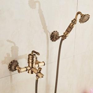竹シャワー蛇口ミキサータップアンティークブロンズ真鍮風呂シャワー蛇口セットバスタブ蛇口トルネイラ風呂XT333