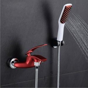 フル銅ボディペイントシャワー浴槽の蛇口混合水道管蛇口黒と白の赤クロムXT 331