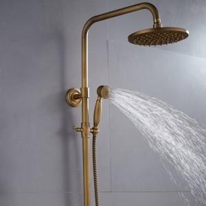 シャワーの蛇口アンティーク真鍮仕上げ浴室の降雨量スプレーシャワー付き耐久性のある真鍮蛇口セットXT 304