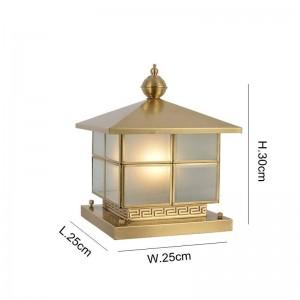 フル銅風景照明ヴィラドアポスト1ピースE27ランプ中庭ガーデン照明全銅ランプ本体とガラスランプシェード
