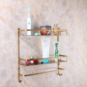 フル銅ウォールマウント銅2層収納バスケットシャワールーム浴室タオルラックソープディッシュシャンプーラック浴室用棚