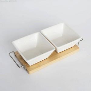 フルセットセラミック竹デザートボウルトレイスナックプレートフルーツボウル皿プレート食器朝食トレイキッチン家庭用品
