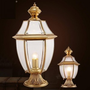 庭の柱ライト屋外の中庭の照明防水壁ランプ風景ライトE27街路灯ランプヴィラ銅ランプ