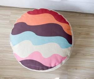 幾何学模様色格子縞クッション枕怠惰なスタイルリネン瞑想almohada布団畳小さなソファクッション15センチ厚