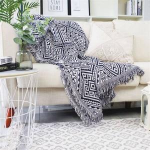 幾何学迷路投球毛布ソファ装飾的なスリップカバーコバートールクリスマスの装飾ホーム滑り止めステッチチェック柄毛布