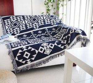 ジオメトリ投球毛布ソファ装飾的な青いボヘミアスリップカバーCobertorソファ/ベッド/飛行機旅行滑り止めステッチ毛布