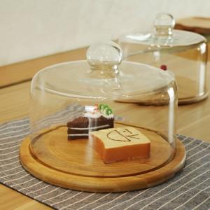 ガラス透明カバーフルーツプレート午後のティーケーキカバー木製ガラスカバーウェストポイントトレイケーキプレートフルーツデザートプレート