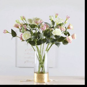 ガラス花瓶ゴールド透明ストレート花瓶家の装飾金箔フラワーアレンジメントローズリリー