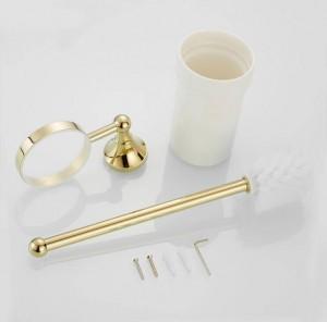 金の真鍮の浴室の洗面所の洗剤のブラシホルダー古風な洗面所の棚のホールダー浴室ハードウェア付属品トイレのブラシホルダー