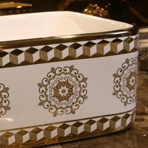 ゴールドガラスパターン浴室セラミックシンク洗面台カウンタートップ洗面台浴室シンクボウル虚栄心長方形