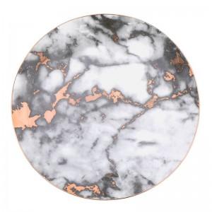 ゴールドインレイ大理石粒セラミックプレートユニークなディナーセット皿デザートプレート食器ケーキトレイ