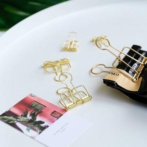ゴールド北欧オフィス用紙収納クリップミニマリストエリオットフォルダーイン錬鉄製のドキュメントハンドブック収納クリップホームシーリングクリップ