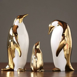 ゴールデンセラミックペンギンの装飾品ホームモデルルームリビングルームテレビキャビネットワインキャビネットオフィス装飾ギフト
