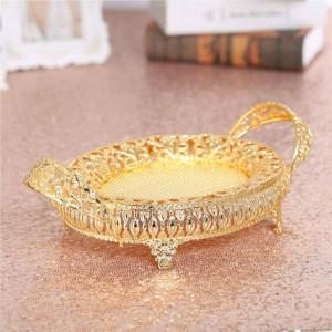 金フルーツ箱キャンデーの版のレトロの金属の皿、結婚式の装飾の誕生日党のための空の金属板