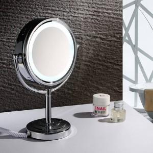 """8.5 """"デスクトップの虚栄心LED化粧鏡ライト両面化粧鏡の倍率x 10とノーマル、ポリッシュクローム"""