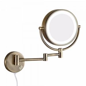 導かれたライトが付いている風呂の壁の化粧鏡および10倍の拡大の二重延長腕の折る剃毛ミラー二重味方された骨董品