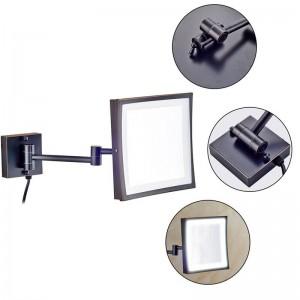 50の導かれたライトが付いているホテル360の回転構造ミラーおよび二重折るミラーの腕を搭載する3X虫眼鏡の正方形ミラー