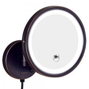 ホテルの浴室10Xの拡大の虚栄心の化粧鏡の剃毛、7X / 5X / 3xの拡大の壁の台紙の円形ミラー