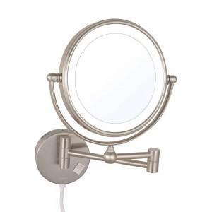 導かれたつけられた拡大の化粧鏡両面ライトの拡張可能な折りたたみ髭剃り鏡付きledライトニッケル